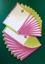 Filofax A5 Organiser Planner - 20 Beautiful Sheets of Paper in Pink & Green
