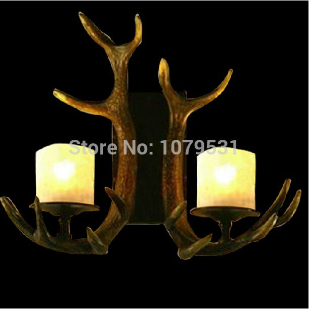 Cheap Wall Lamps, Buy Directly from China Suppliers:Europe Country 6 Heads American Retro Chandelier Light Resin Deer Horn Antler Glass Lampshade Decoration, E27 110-220VUS