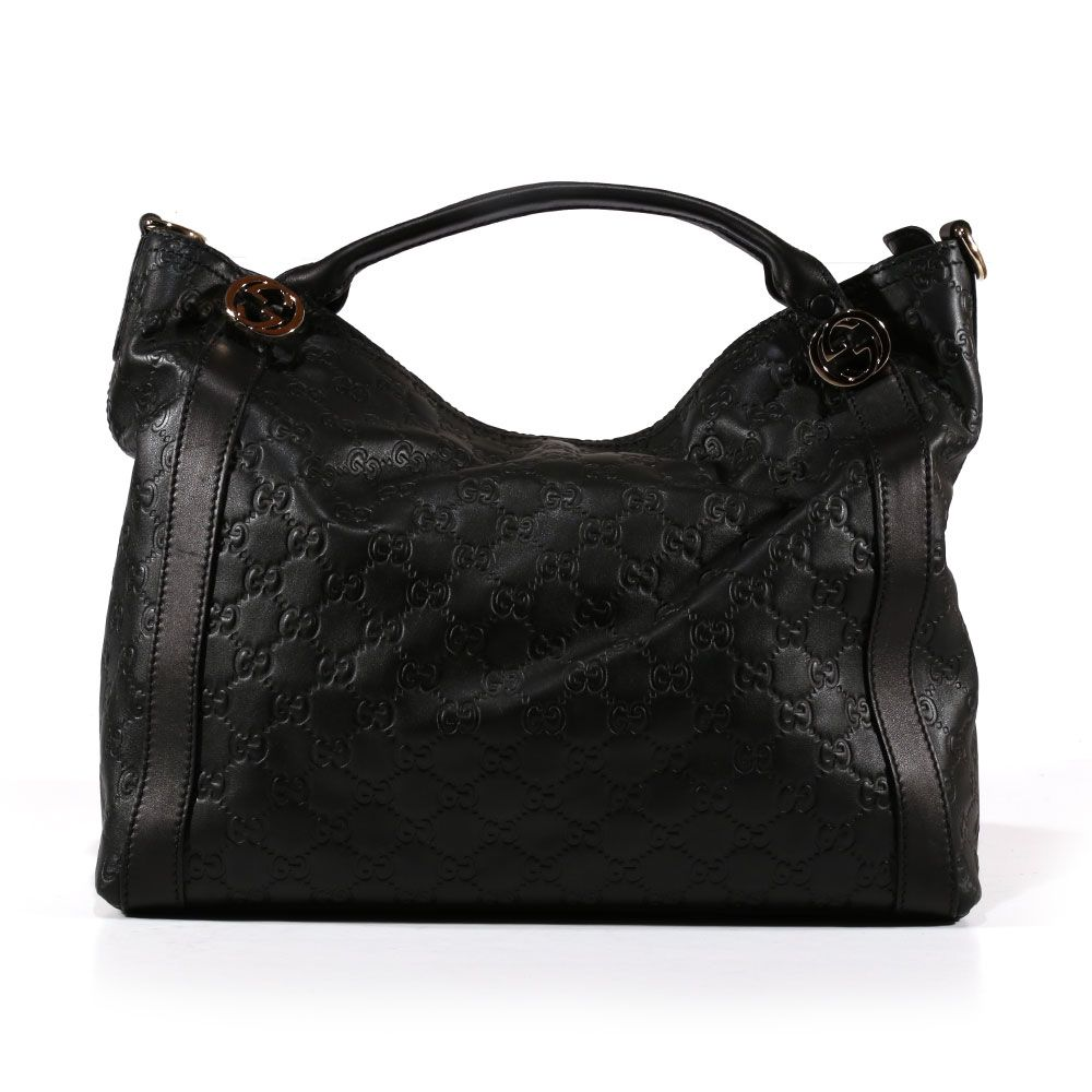 475374fc6c5336 Gucci Miss GG Leather GG Embossed Top Handle Bag GH5001 (GH5001) Material:  Embossed Leather Hardware: Light Fine Gold Color: Black Details:  Hand-Painted ...