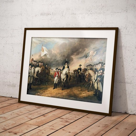 Historical illustration of The Surrender of Lord Cornwallis, in the American Revolutionary War.