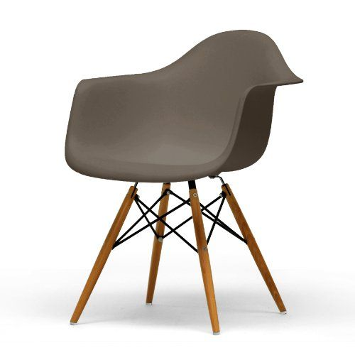 baxton studio pascal plastic mid-century modern shell chair, taupe