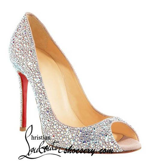 995c4f9e3f47 Christian Louboutin Sexy Strass 100 Swarovski crystal peep toe ... OH What  I wouldn t give!