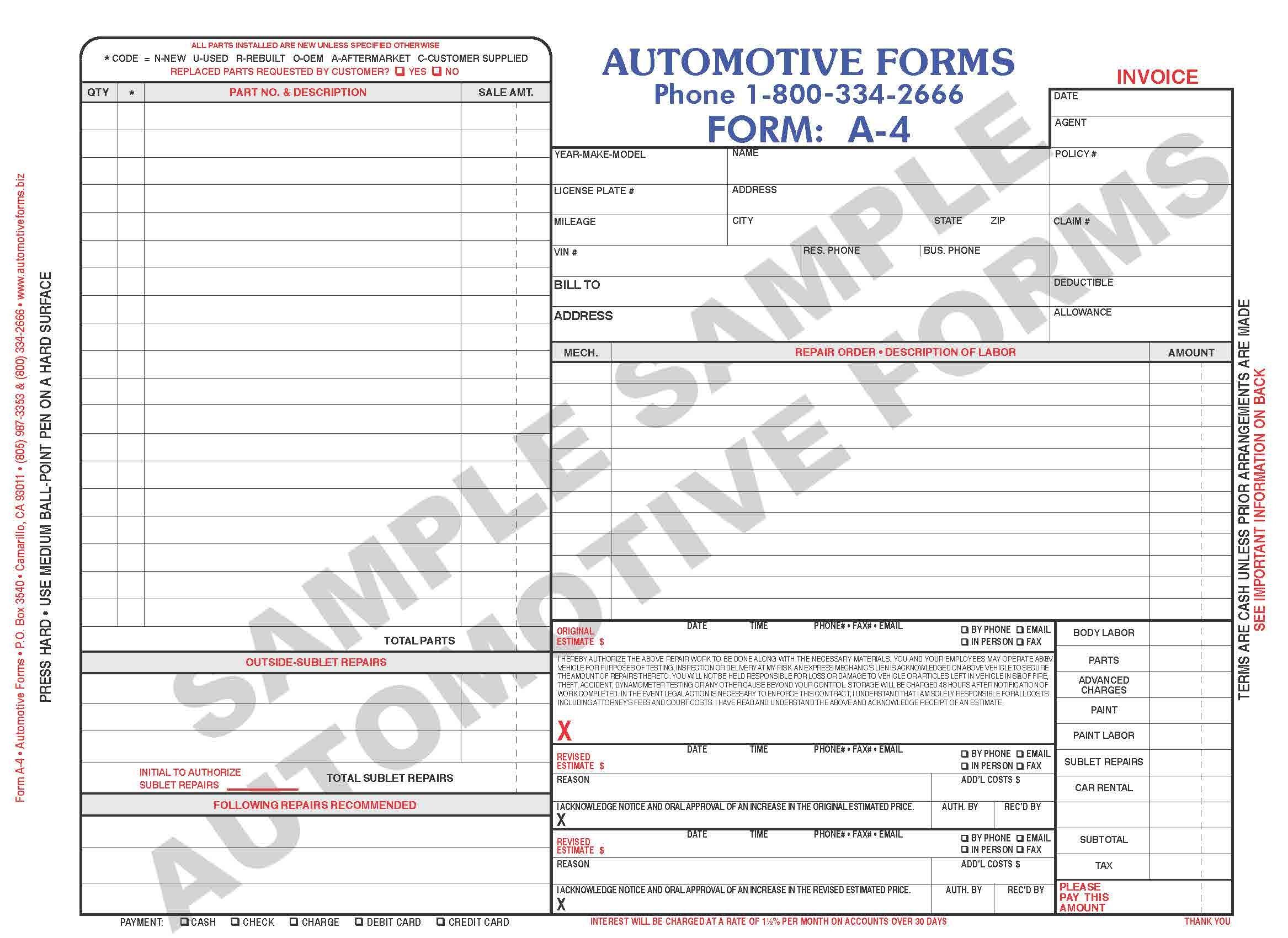 Body Shop Invoice Body Shop Invoice Template  Invoice