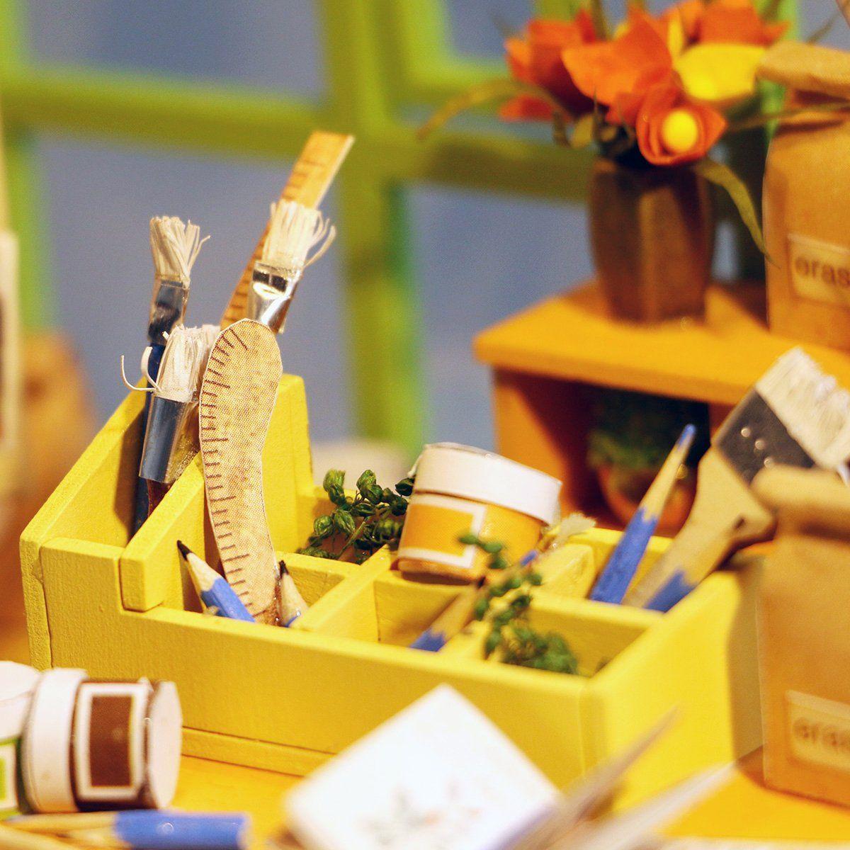 Christmas Sale Miniature Dollhouse Diy Kit With Led Light Art Studio Building Crafts Puzzles Mini Toys Top Chr Dollhouse Toys Dollhouse Miniatures Diy Toys
