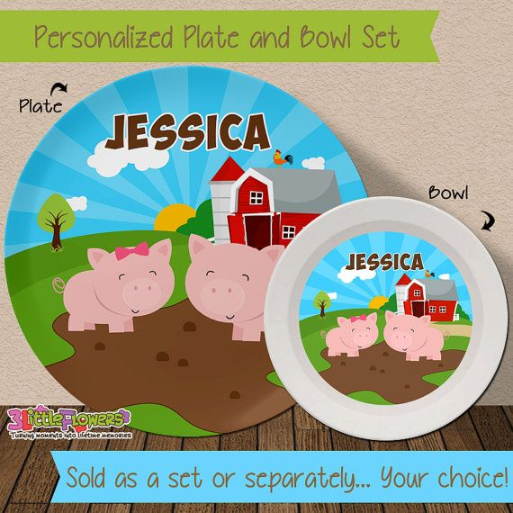 Pig Plate and Bowl Set - Personalized Melamine Children Plate Cereal Bowl - Kids Dishes for & Pig Plate and Bowl Set - Personalized Melamine Children Plate Cereal ...