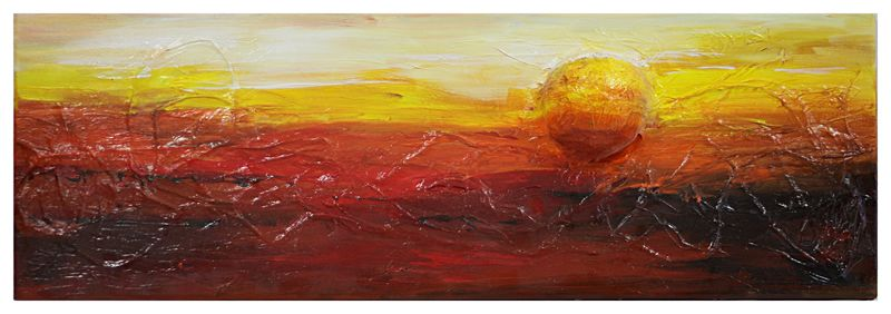 [Soleil] - Muriel THEODET Acrylique sur toile   Technique mixte  feuille de soie relief L: 90 cm H: 30 cm P: 2 cm Prix: 100.00 € http://www.galerie-fabriel.fr