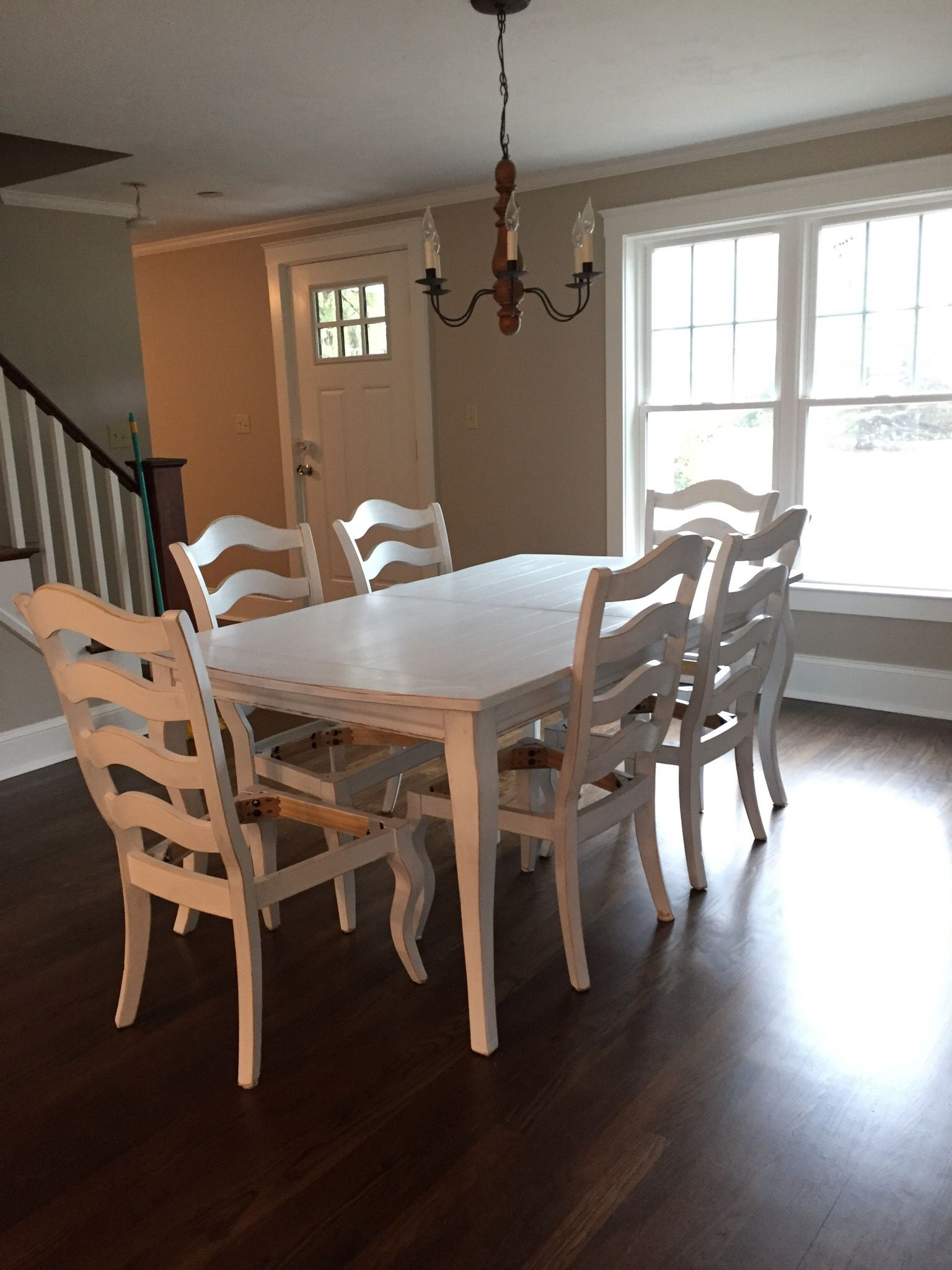 maple table and chairs 8 painted with ace white oil paint rh pinterest com