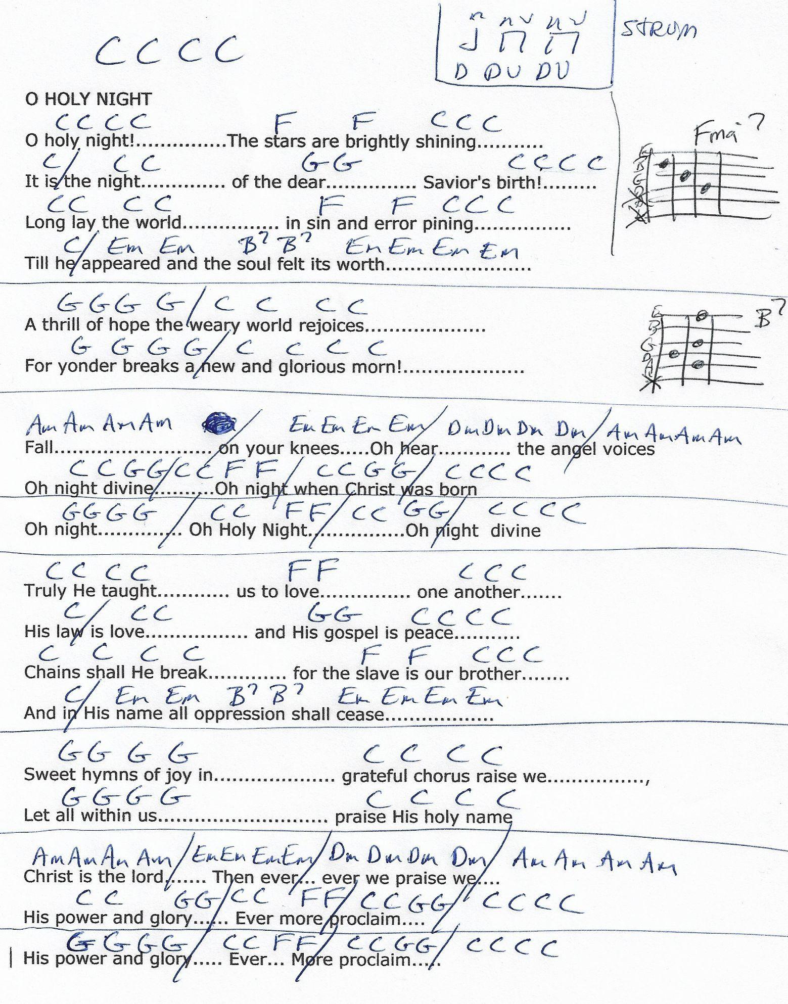 O Holy Night (Christmas/C Major) Guitar Chord Chart in 3/4