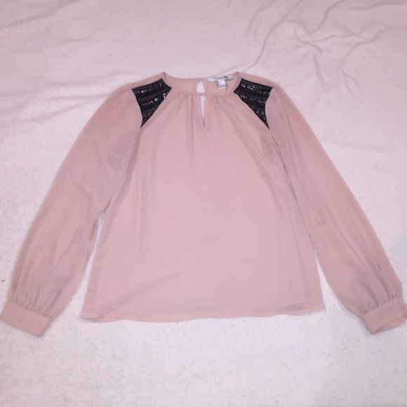 Long sleeve Forever 21 sheer top. Small Sheer, blush colored long sleeve shirt. Forever 21. Great condition! Beautiful details on shoulder! Forever 21 Tops Blouses