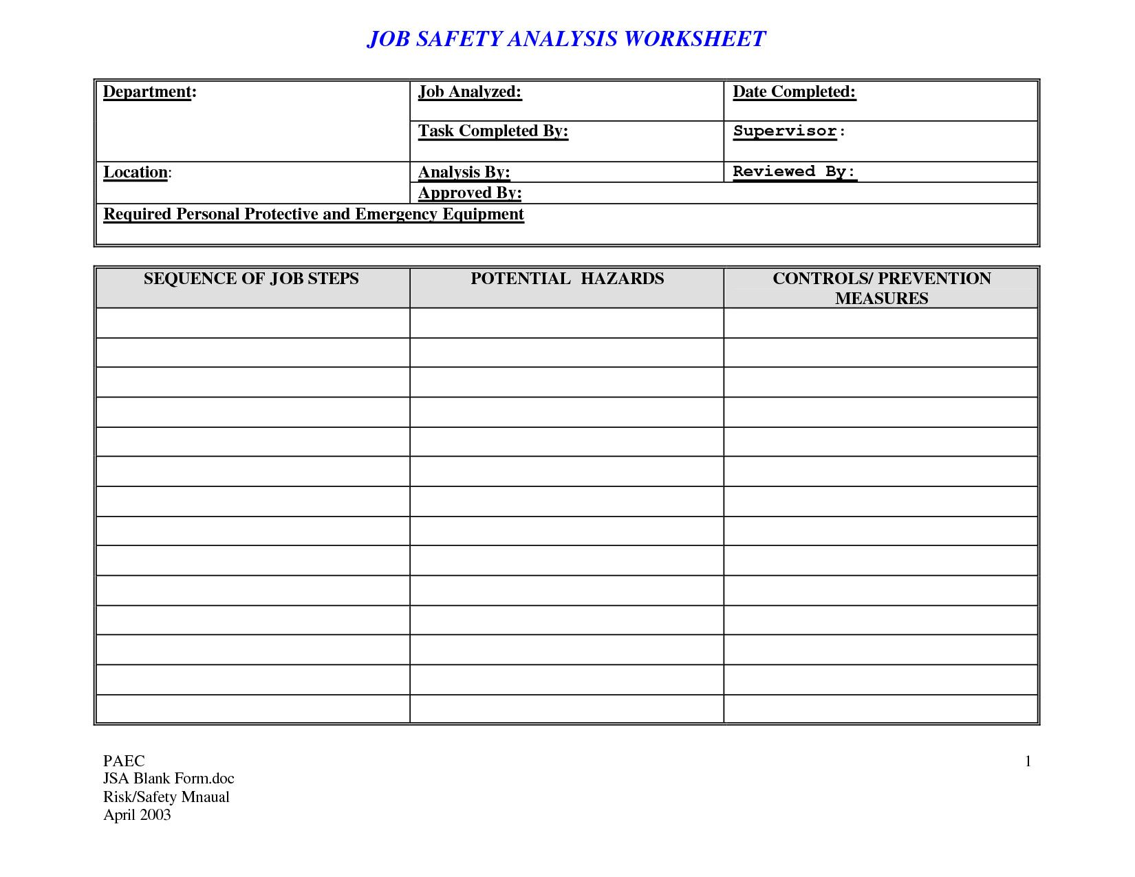 Job Safety Analysis Format Beautiful 20 Effective Task List