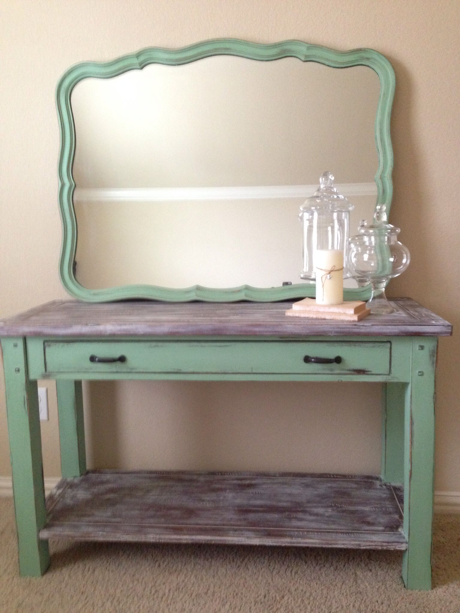 Shabby Chic side table and French provincial mirror Mint green