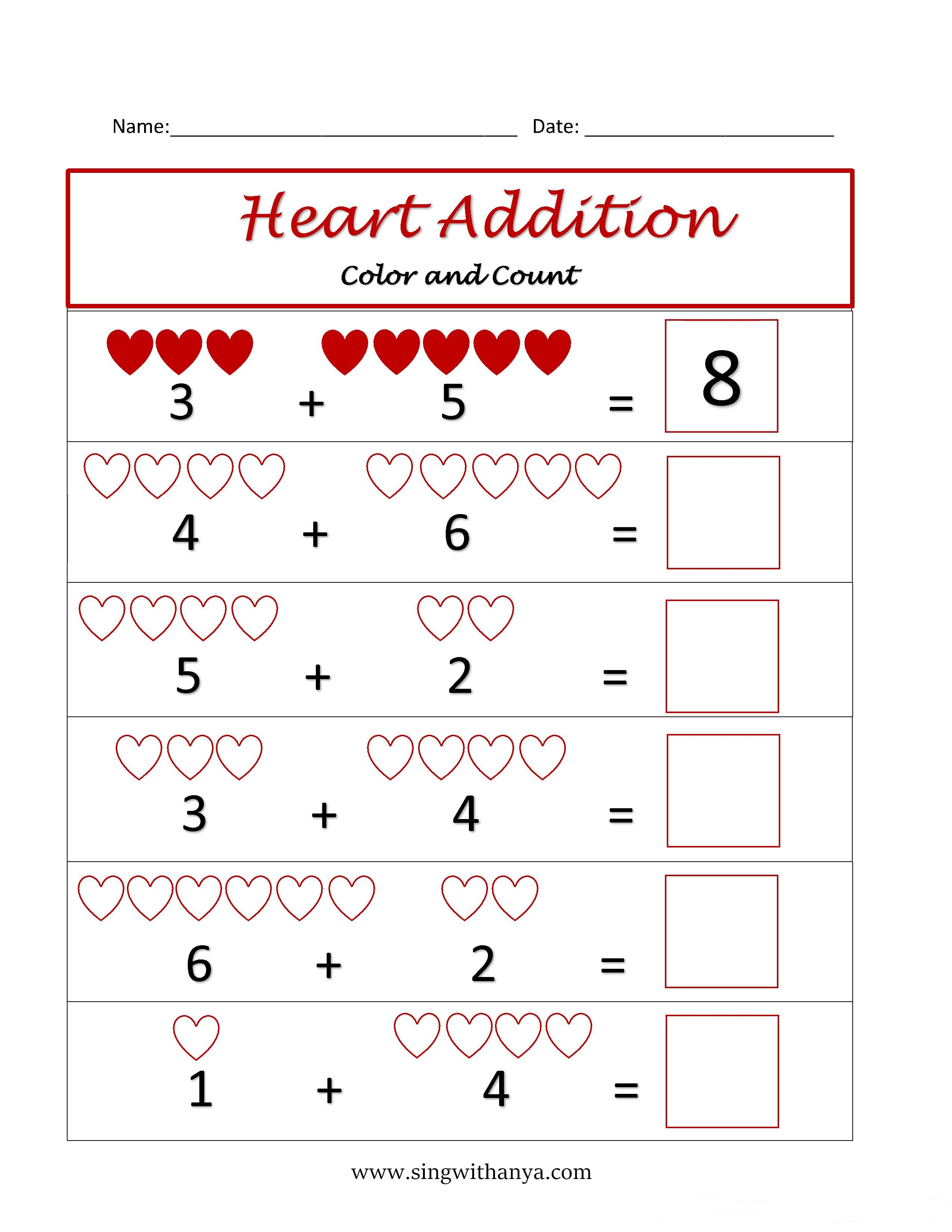 Free Math Worksheets For Valentine S Day 1 10
