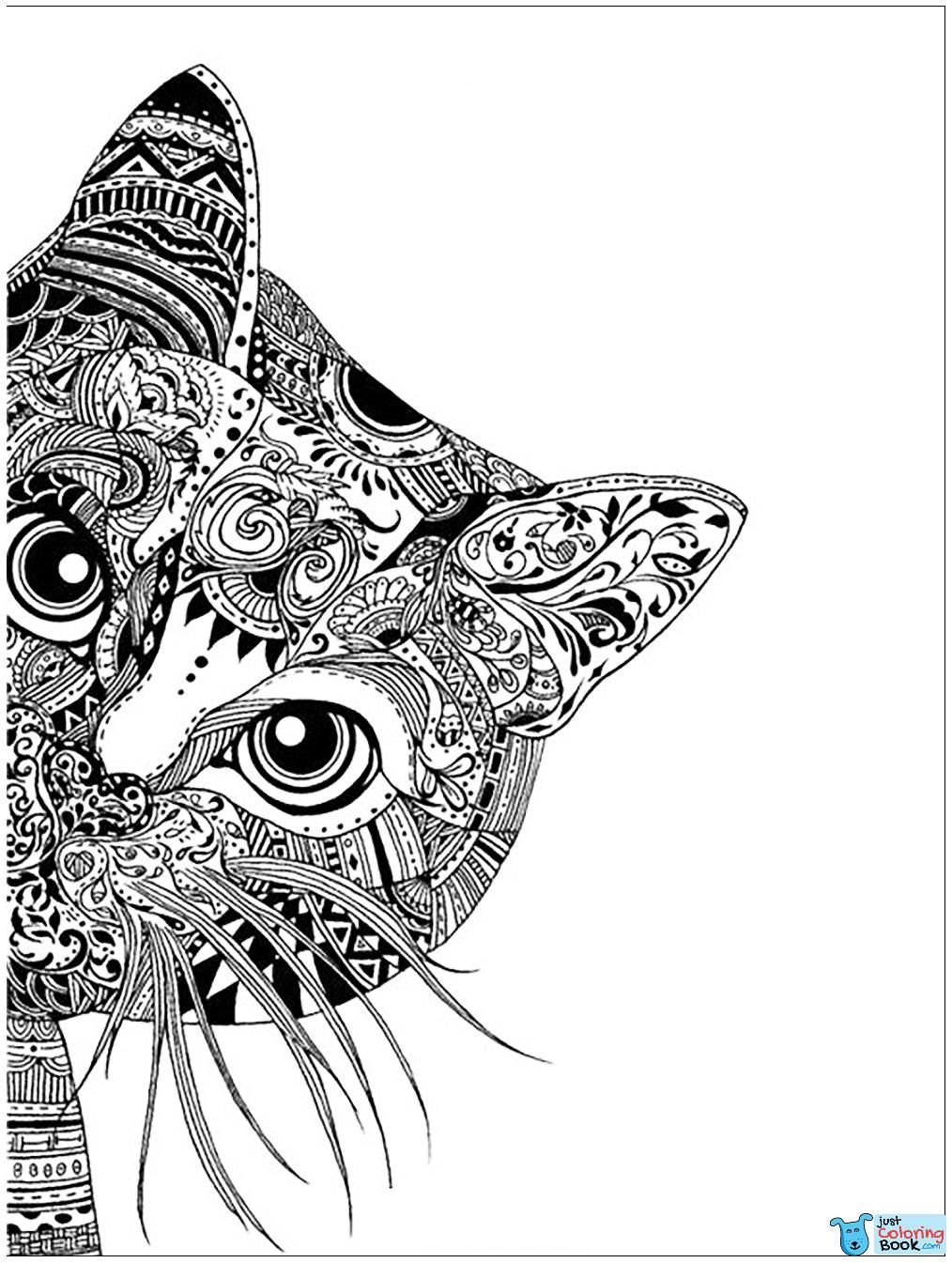 Cat Head Cats Adult Coloring Pages In Free Printable Cat In