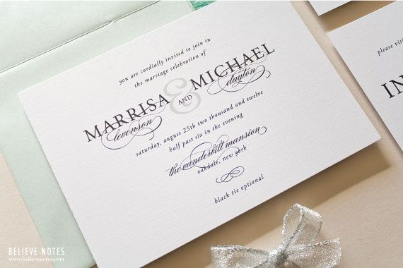 classic black and white wedding invitations -- beaitufil script, Wedding invitations