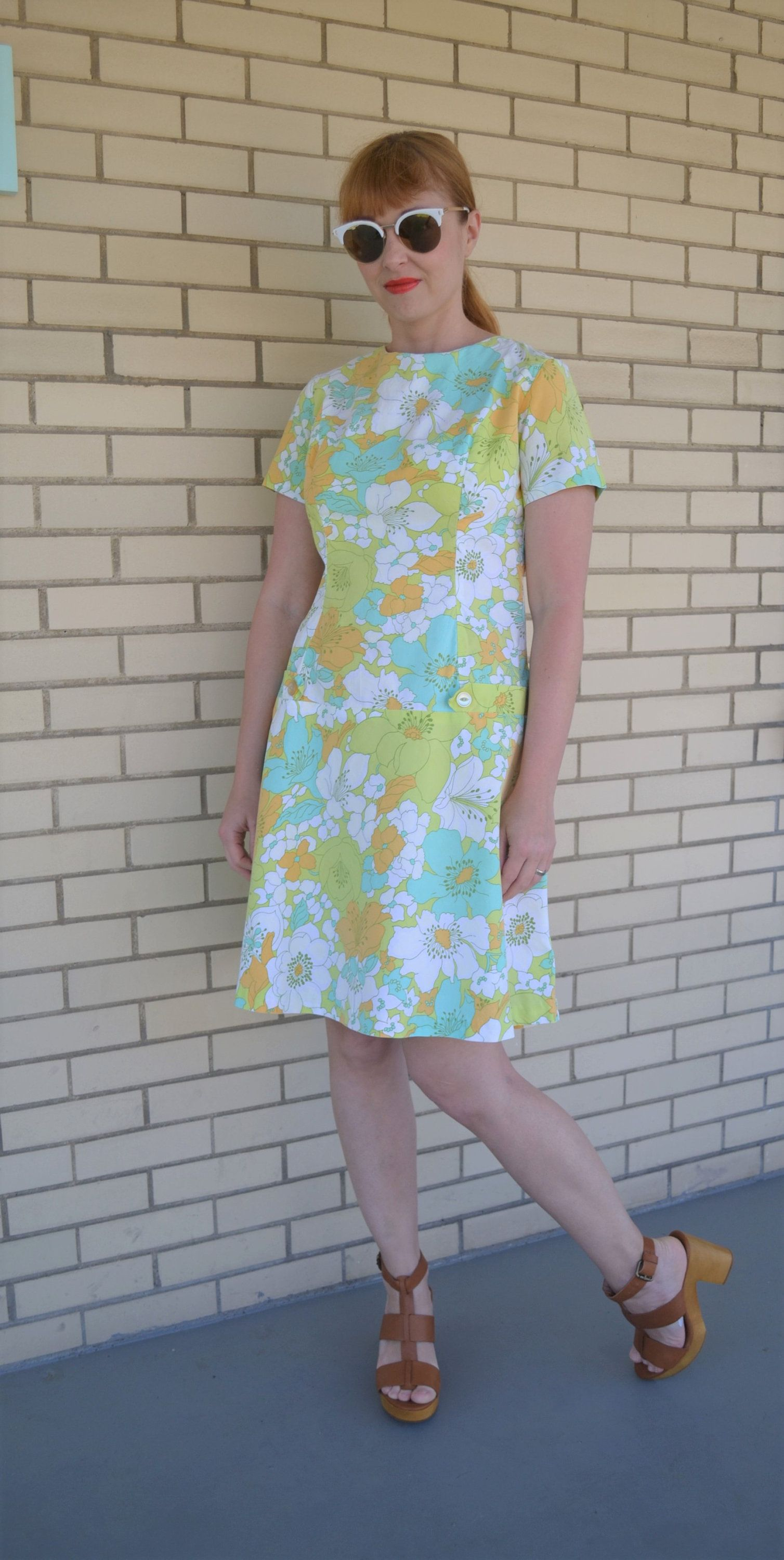 S tropical floral print dress vintage dress blue and green s