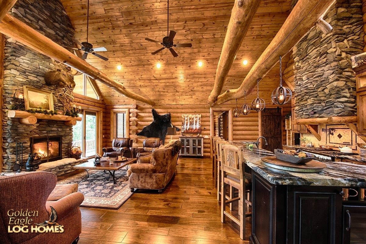 Awesome Log Home Open Floor Plans #8: My Rustic Country Log Cabin. Another View Of The Open Floor Planu0027s Rustic  Decor In Great Room And Kitchen.