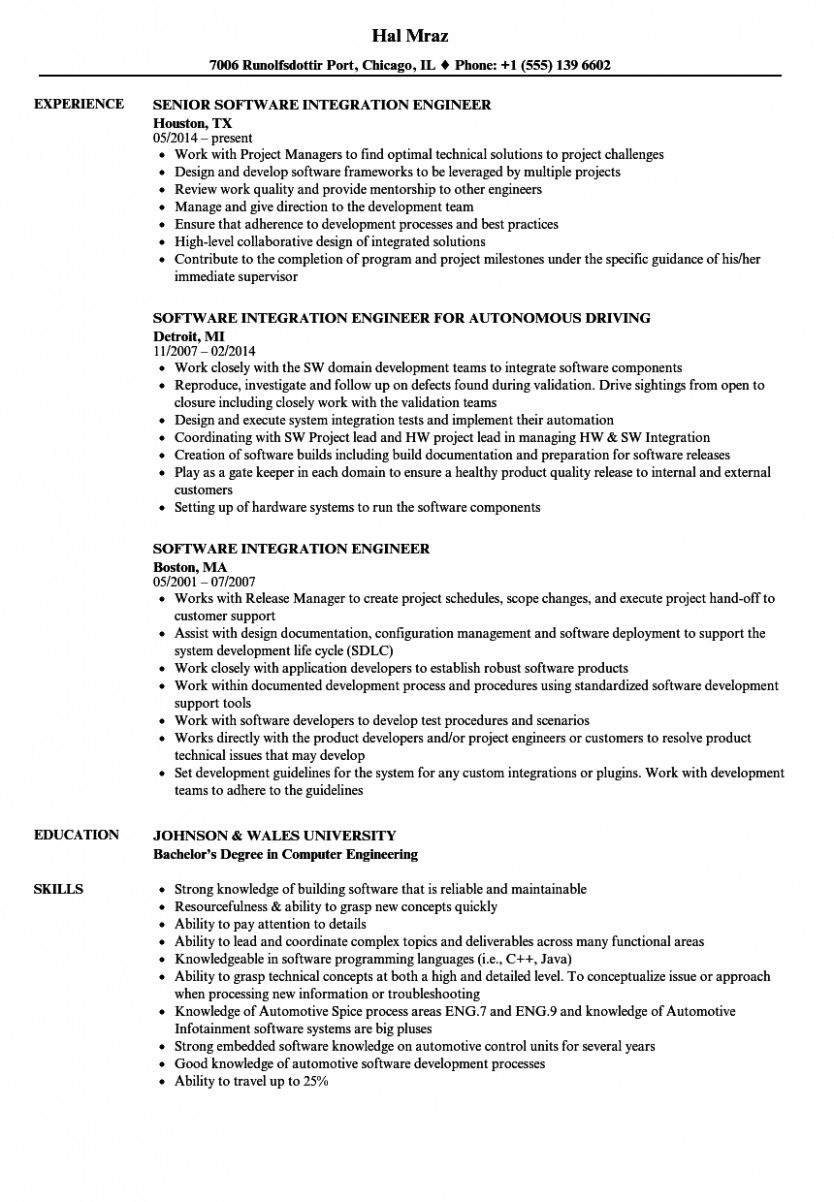 11 Automobile Integration Engineer Resume in 2020