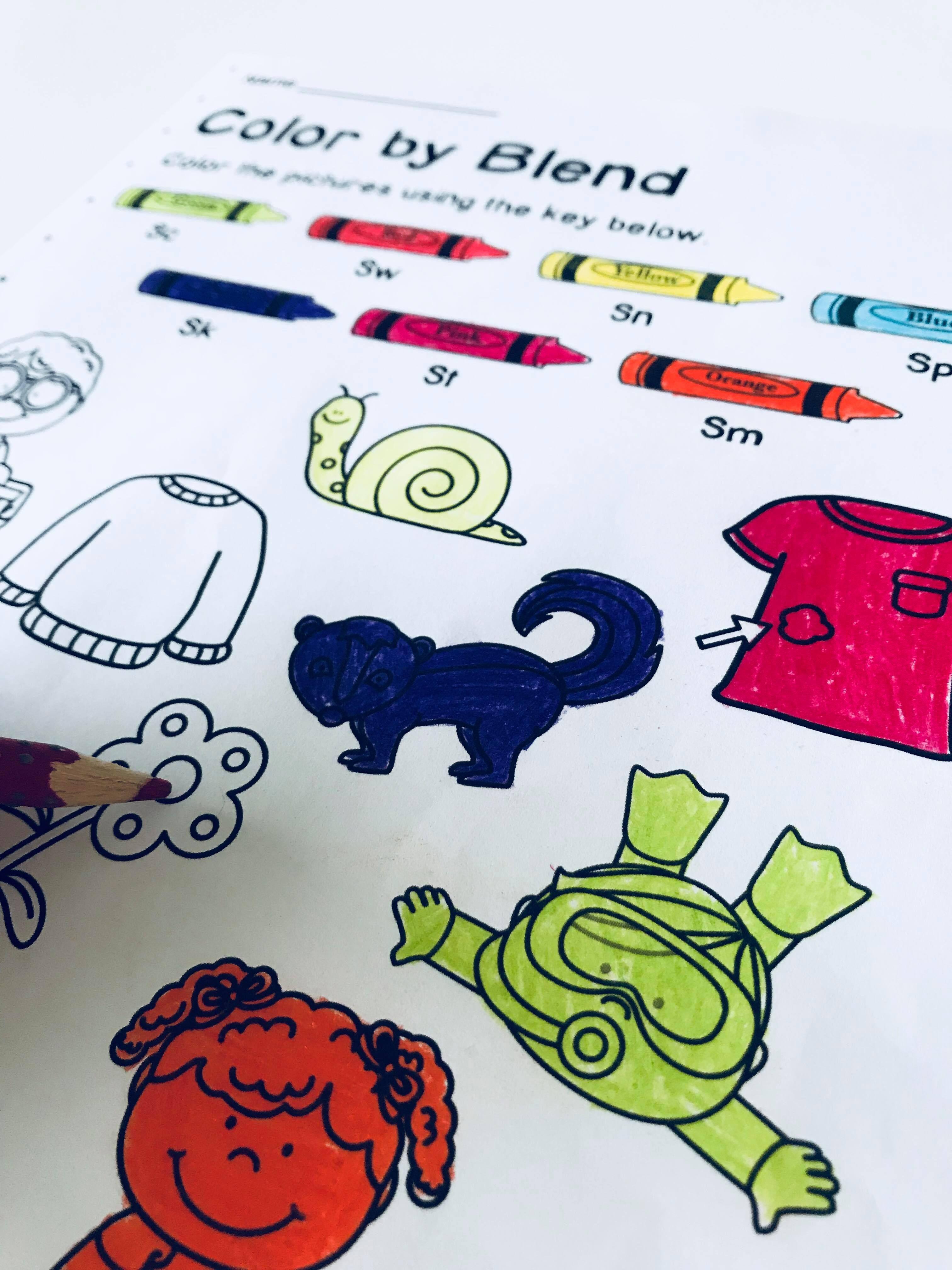 Color By S Blend Worksheets