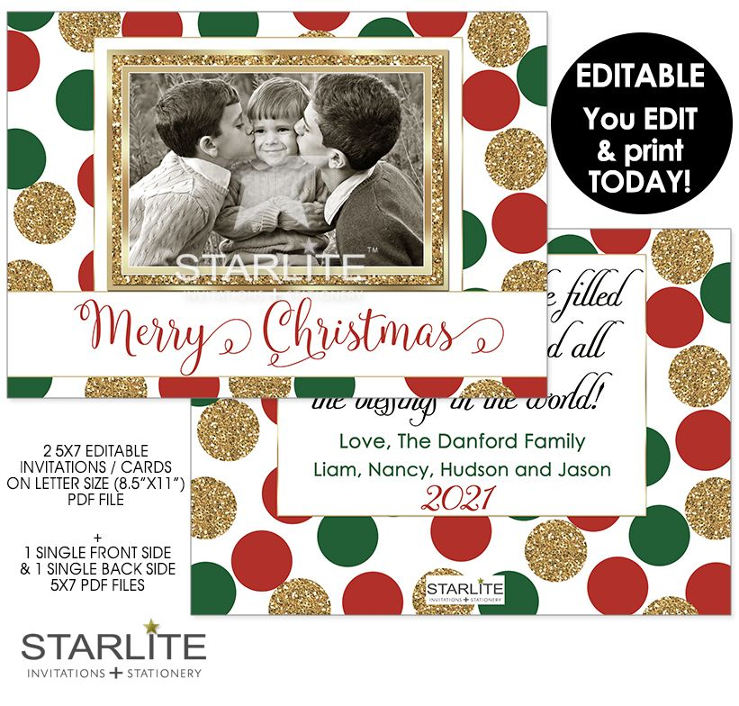 Photo Christmas Card Editable Instant Download Red Green Gold Glitter Merry Christm Christmas Photo Card Template Christmas Photo Cards Christmas Card Template