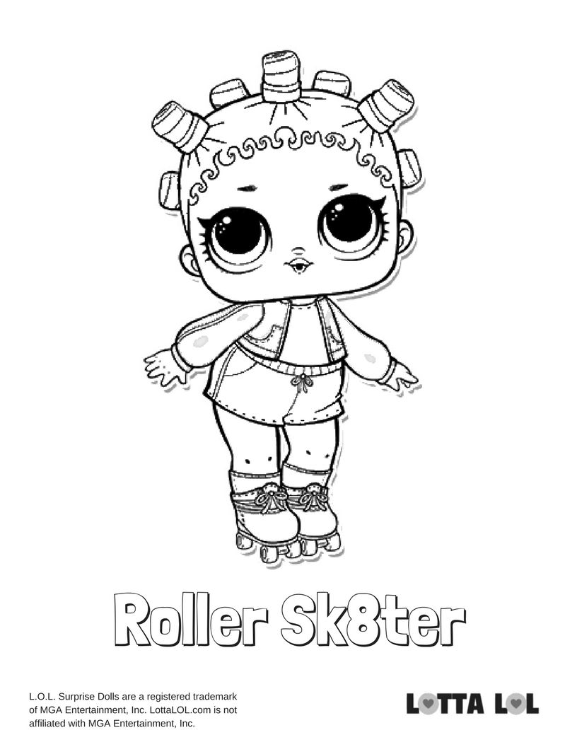 Roller Sk8ter Coloring Page Lotta Lol Cool Coloring Pages Coloring Pages Lol Dolls