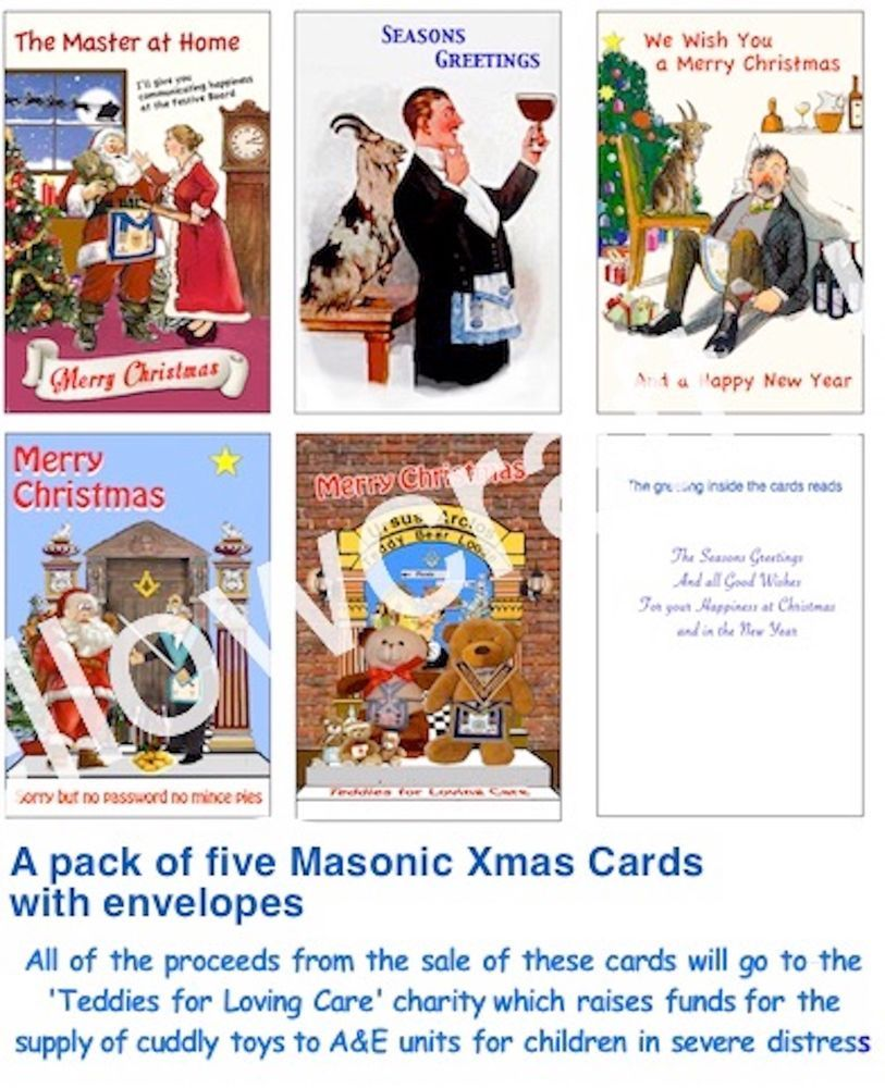 Pack Of Five Masonic Xmas Cards With A Hint Of Fun Freemason
