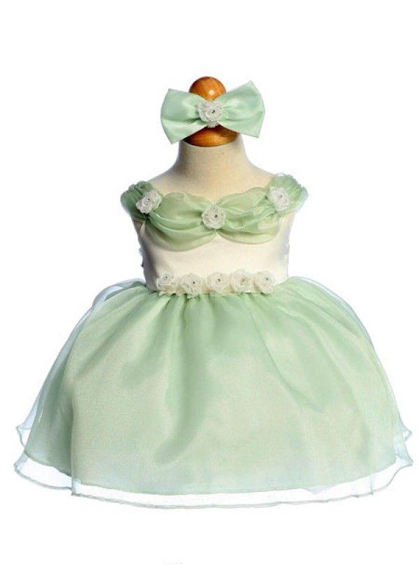 Sage Lovely Organza Floral Infant Dress