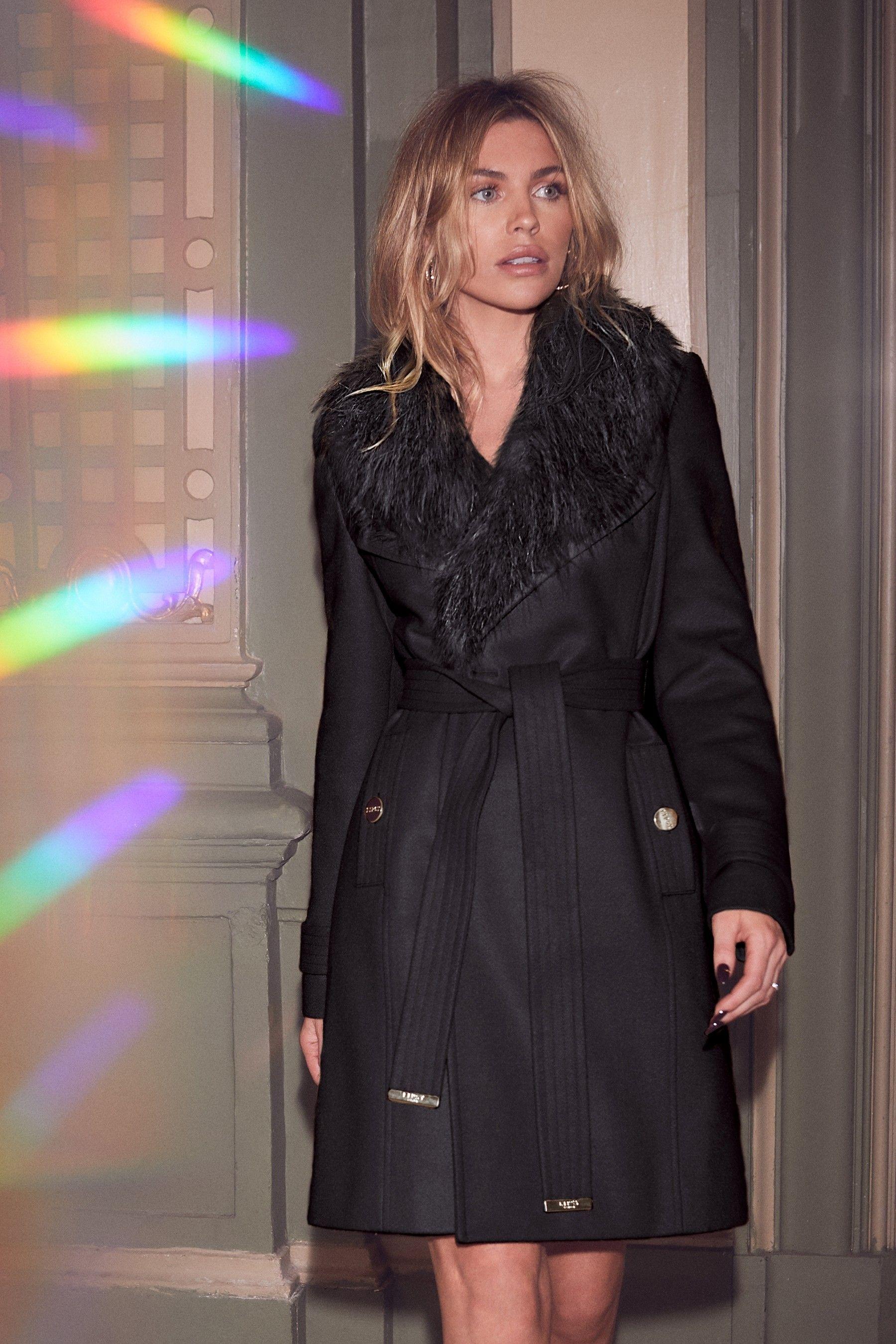 ea1aefd967d53 Womens Abbey Clancy x Lipsy Faux Fur Collar Wrap Coat - Black ...