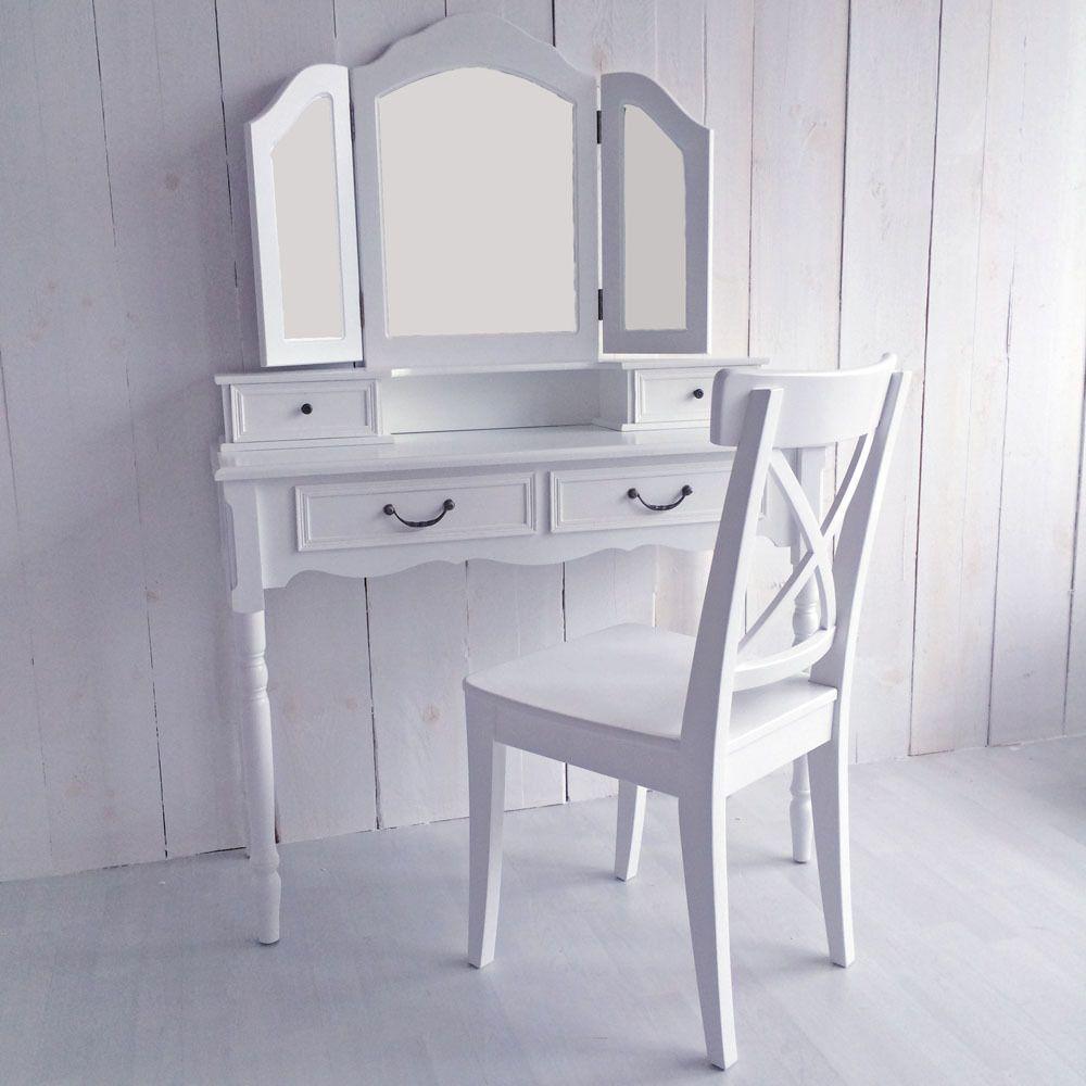 Schminktisch Frisiertisch Schminkkommode PRETTY, Weiß, 4 Schubladen   3  Spiegel In Möbel U0026 Wohnen