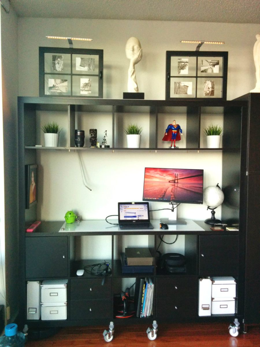 Genius Idea Ikea Expedit Shelves With Baskets For Storage: Movable Expedit Standing Desk With Storage