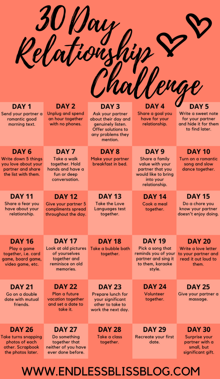 30 Day Relationship Challenge • Endless Bliss