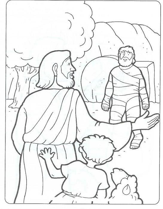 John 111 44 Jesus Has Power Over Death Raises Lazarus From The Dead Coloring Page