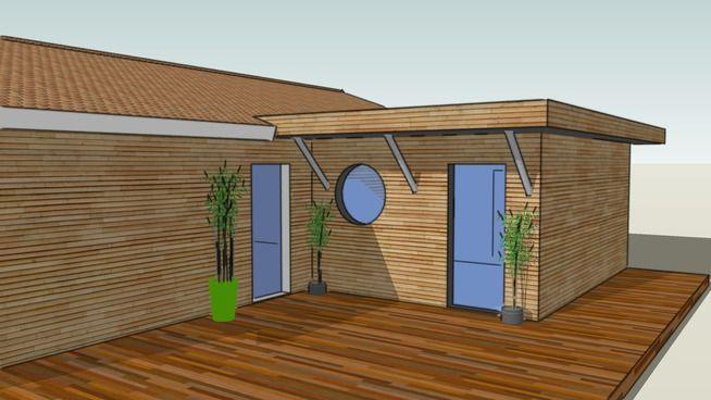 Pré-projet du0027une extension de maison ossature bois en Gironde - 3D - agrandissement maison bois prix m
