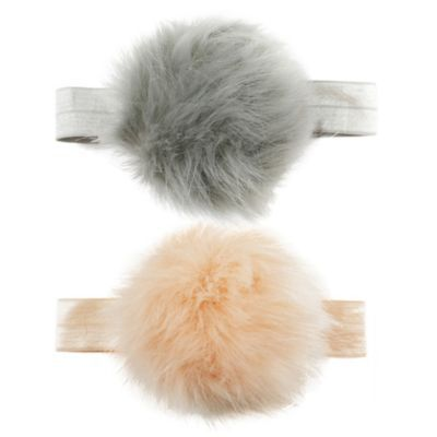 Tiny Treasures 2-Pack Large Pom Pom Headband In Pink grey  d90f95ee5587