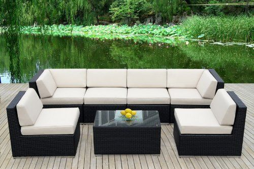 Genuine Ohana Outdoor Patio Sofa Sectional Wicker Furniture 7 Piece Couch  Set   $1399
