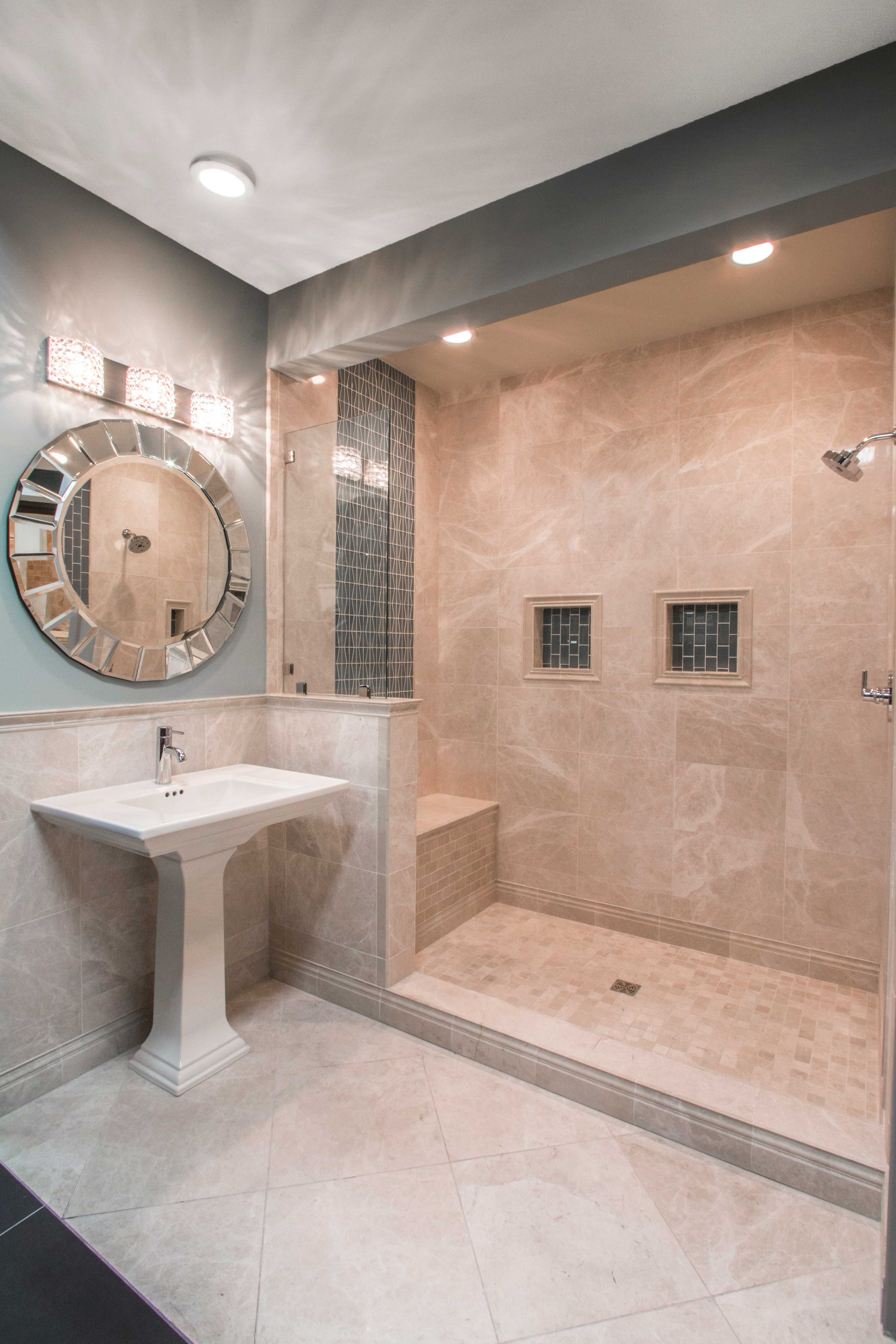 Elegant beige taupe and cream colored bathroom tile for Limestone tiles bathroom ideas