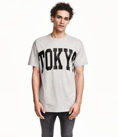 3c3f2a7c8 Oversized T-shirt in jersey with a Tokyo text design. Light grey melange &  black. | H&M Divided Guys
