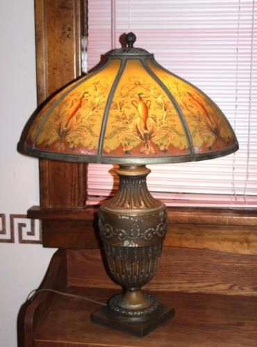 Lg Signed Bradley Hubbard Reverse Painted Lamp B H Base And Eight Panel Shade Painting Lamps Reverse Painted Lamp