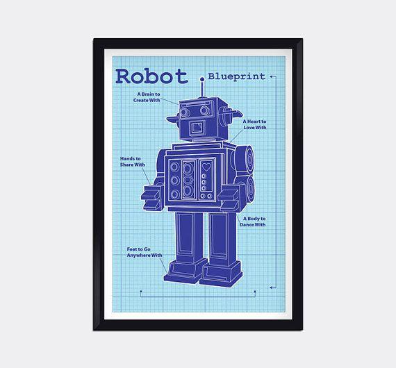 Modern Blueprint Robot Kids Wall Art | Kids Posters | Pinterest