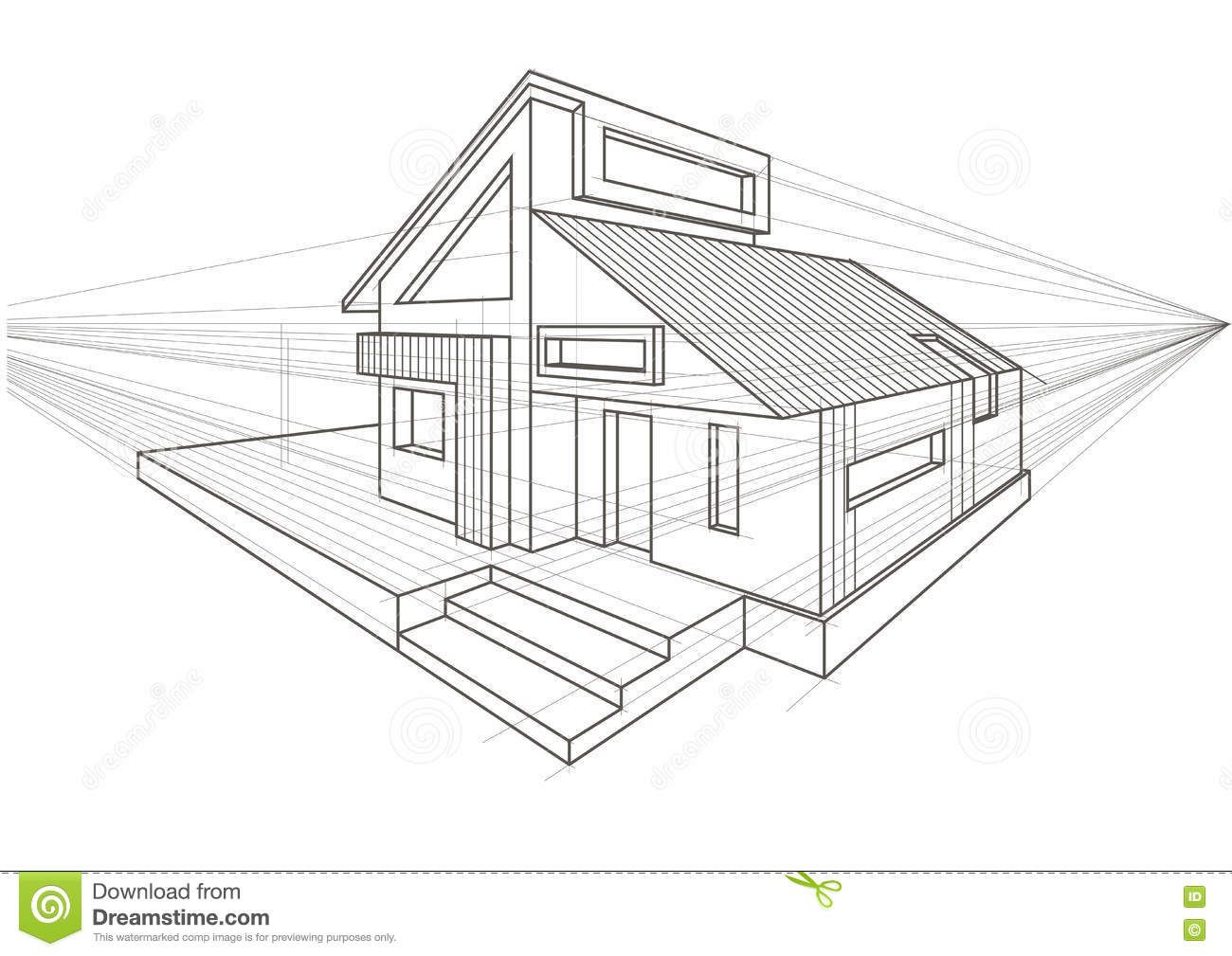 Perspective House Drawing One Point