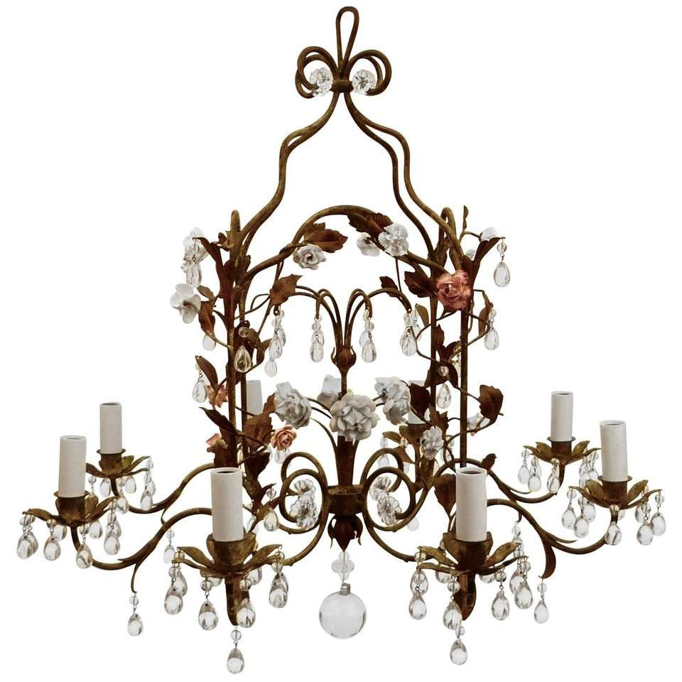 Country french iron and porcelain eight light chandelier 1 lights country french iron and porcelain eight light chandelier 1 arubaitofo Images