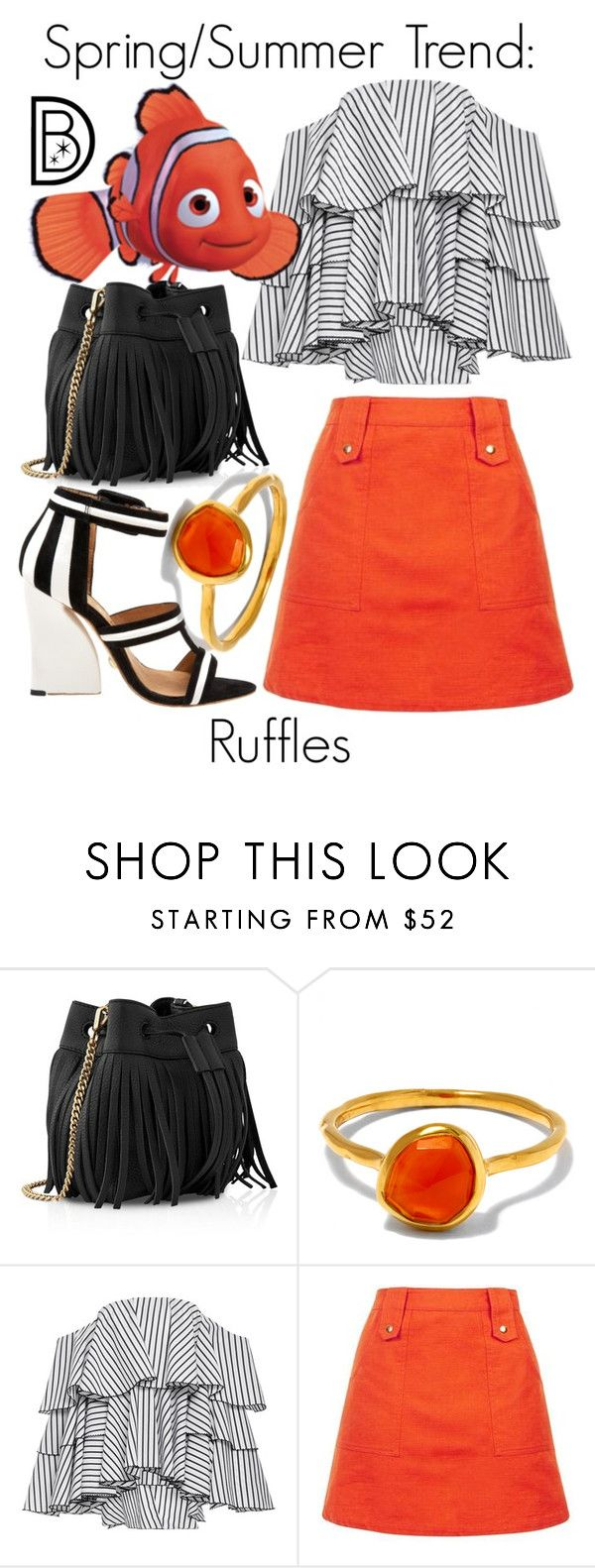 """""""Spring/Summer Trend: Ruffles"""" by leslieakay ❤ liked on Polyvore featuring Whistles, Monica Vinader, Caroline Constas, disney, springtrends, summerstyle and disneybound"""