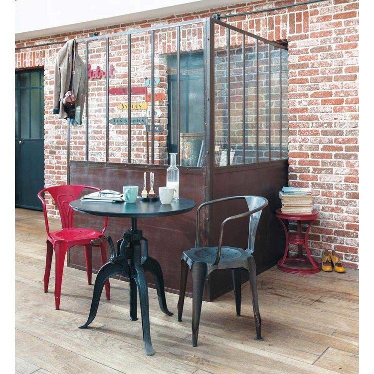 Table ronde de salle à manger indus Edison en métal noire - Maisons
