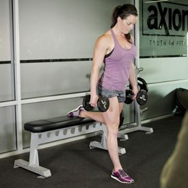 split squats with dumbbells - quads, glutes, hamstrings