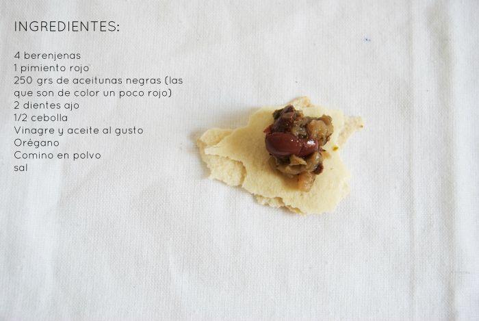Aperitivo de berenjena y pan de pita, saludable, light y delicioso.