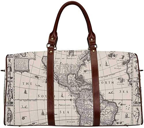 Amazing offer on Wanderlust Decor Large Travel Bag,Image Antique Map America 1600s World Medieval Time Ancient Era Decorative Men,20.8 L x 12 W x 9.8 H online – Fashion Luggage