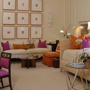 Living Rooms  Fuchsia Pink Orange Velvet Throw Pillows Oatmeal Inspiration Pink Living Room Furniture Inspiration Design
