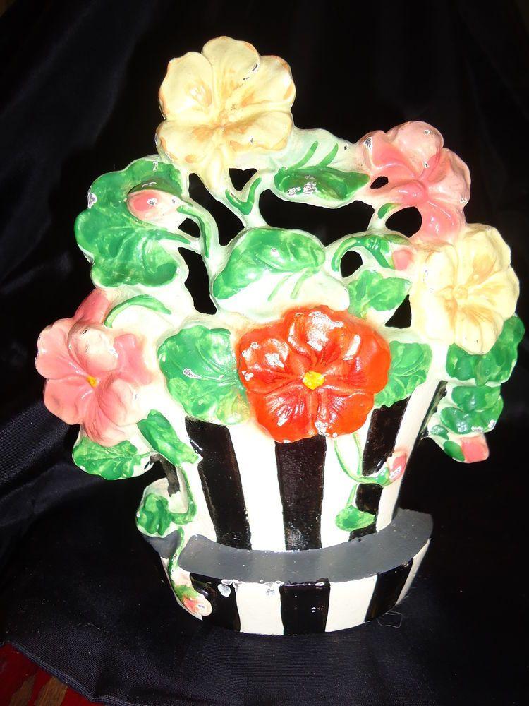MINT!Antique Hubley Cast Iron Nasturtiums Flowers Striped Basket #221,Doorstop #Hubley