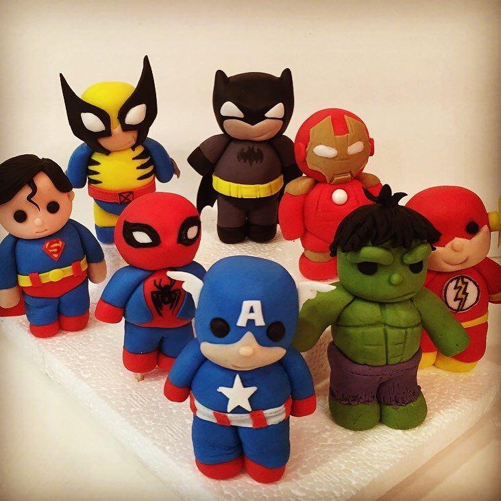 Superhero Cake Toppers Batman Superman Spiderman And The Hulk
