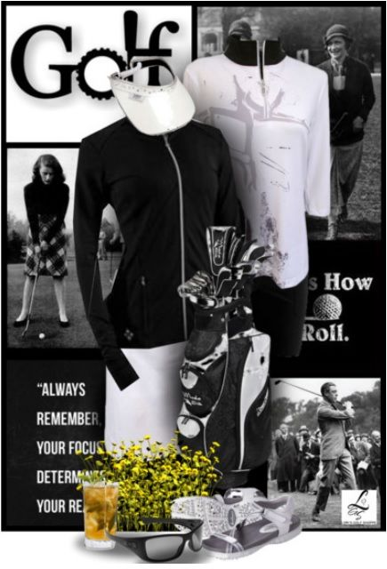 The classic black and white golf look exclusive at lorisgolfshoppe.polyvore.com #golf #ootd #polyvore #lorisgolfshoppe