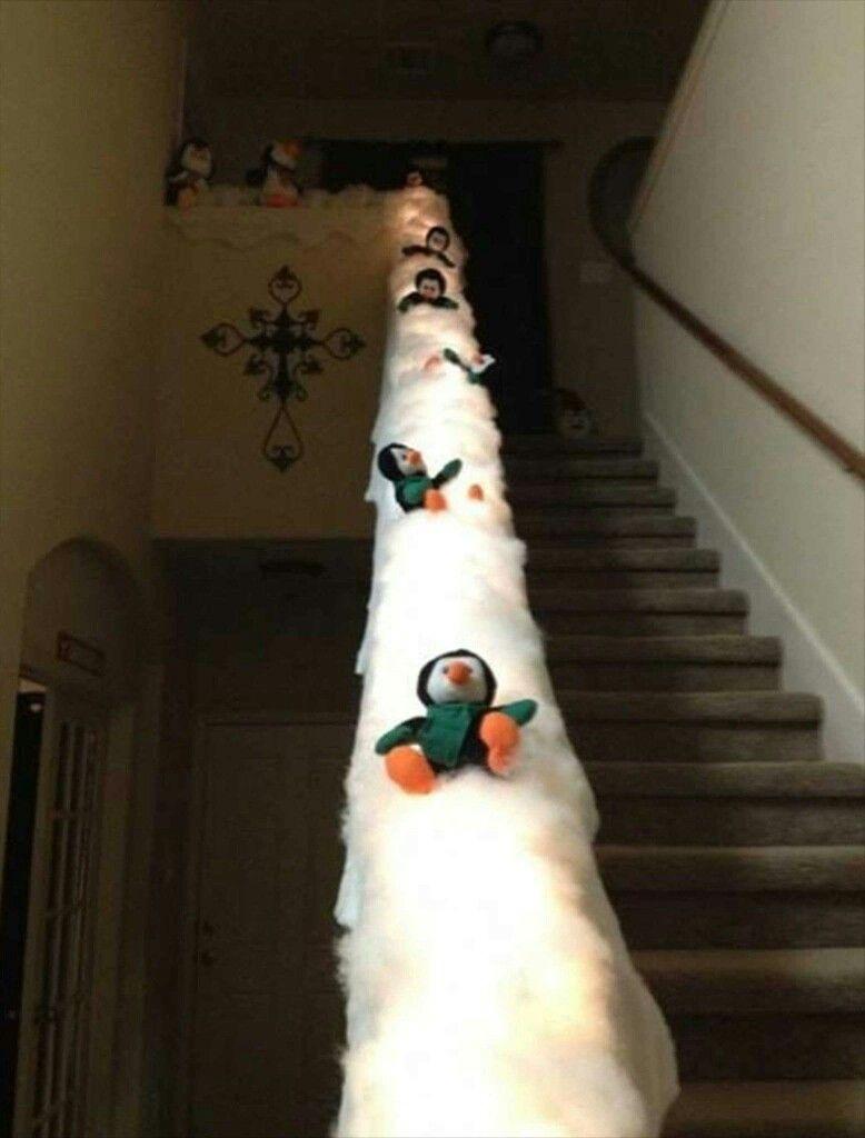 Christmas stair case banister decoration: Penguins ...